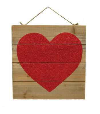 Valentine's Day Wood Wall Decor-Red Glitter Heart