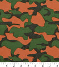Snuggle Flannel Fabric 42\u0022-Green Orange Camo