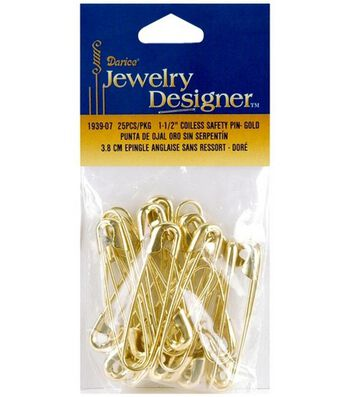 "Darice Jewelry Designer 1-1/2"" Coiless Safety Pin-25PK/Gold"