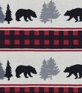 Snuggle Flannel Fabric 42\u0022-Black Bear Buffalo Check Stripe