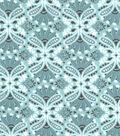 Snuggle Flannel Fabric 42\u0022-Teal Damask
