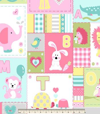 "Nursery Fleece Fabric 59""-Sweet Pink Patchwork"