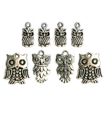 Blue Moon Beads Charm Owl Assorted Pack Silver