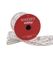 Maker's Holiday Christmas Ribbon 2.5''x25'-Champagne Glitter Branches, , hi-res