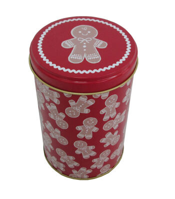 Maker's Holiday Christmas Small Round Cookie Canister-Gingerbread