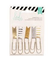 """Heidi Swapp Paper Flag Clips 2.5"""" 5/Pkg-Gold/Silver, , hi-res"""