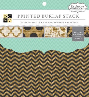 """DCWV 6""""x6"""" Printed Burlap Stack"""