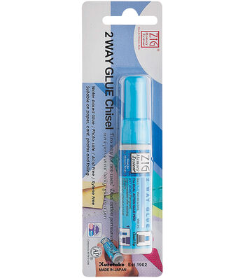 Zig 2-Way Glue Pen Carded-Chisel Tip