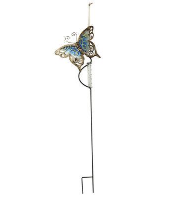 Fusion Glass Butterfly Stake Raingauge
