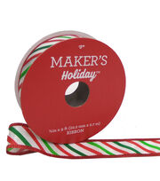 Maker's Holiday Christmas Twill Ribbon 7/8''x9'-Red, White & Green, , hi-res
