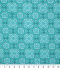 Keepsake Calico Cotton Fabric 43\u0027\u0027-Teal Large Diamond Medallion
