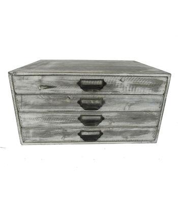 Farm Storage 4-Drawer White Wash Wooden Cabinet