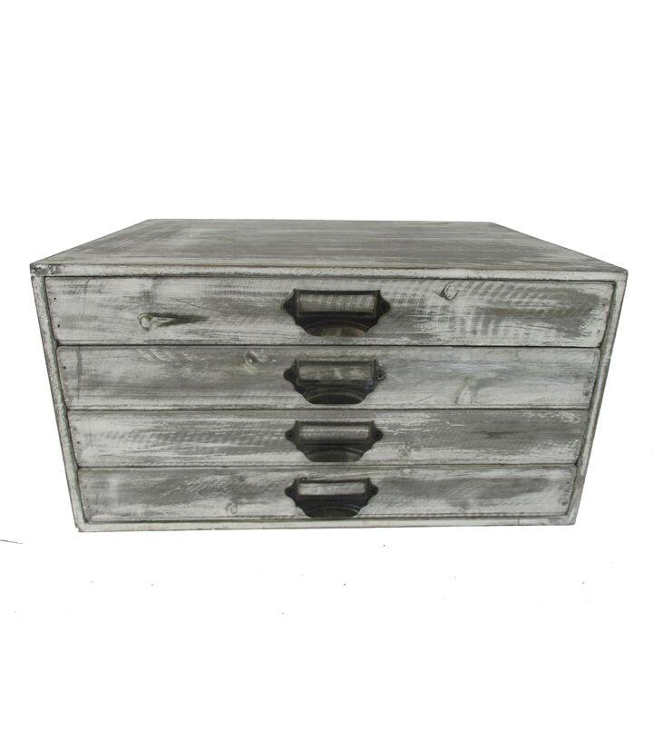 Farm Storage 4 Drawer White Wash Wooden Cabinet