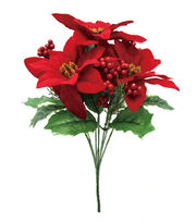 Blooming Holiday Christmas 13'' Poinsettia & Berry Mixed Spray-Red, , hi-res