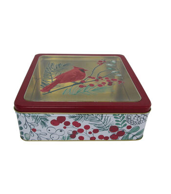 Maker's Holiday Christmas Large Square Clear Top Cookie Tin-Cardinal