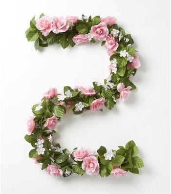 Fresh Picked Spring 66'' Rose & Gypsophila Chain Garland-Pink