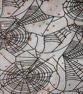 The Witching Hour Halloween Fabric 58\u0022-Flocked Web Orange Duccos