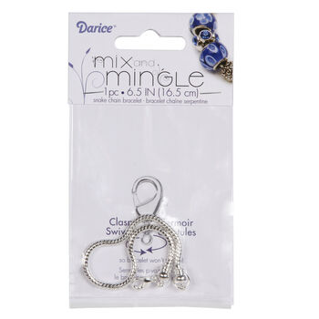 Mix and Mingle  Bright Silver Snake Chain Bracelet With Screw-Off End, 6.5 inch