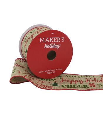 Maker's Holiday Ribbon 2.5''x25'-Natural Greetings
