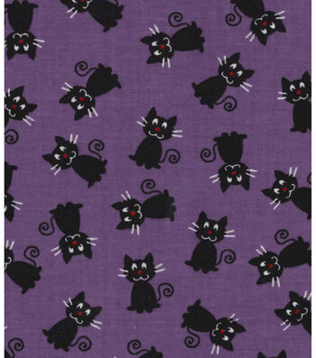 "Halloween Cotton Fabric 43""-Black Cats"
