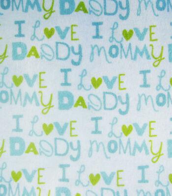 "3 Yard Pre-Cut Snuggle Flannel Fabric 42""-I Love Mommy blue"
