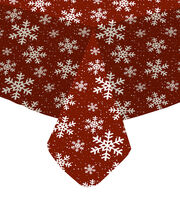 Maker's Holiday Christmas 52''x90'' Tablecloth-Snowflakes on Red, , hi-res