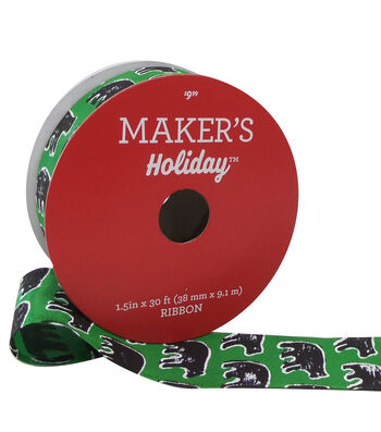 Maker's Holiday Christmas Ribbon 1.5''x30'-Black Bear on Green