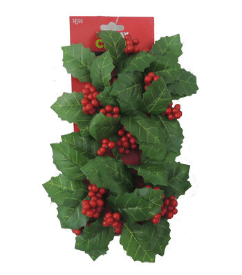 Blooming Holiday Holly Leaf And Berry Floral Accent