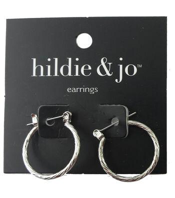 hildie & jo™ 0.88''x0.88'' Silver Hoop Earrings