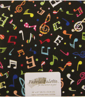 Fabric Palette 1/4yd Pre-cut Cotton Fabric-Tossed Music Notes