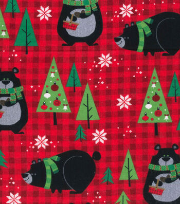 "Snuggle Flannel Fabric 42""-Bears & Red Plaid"
