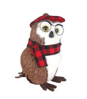 Blooming Holiday Christmas Professor Owl with Plaid Hat & Scarf, , hi-res