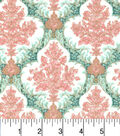 Two Daughters™ Cotton Fabric 43\u0022-Damask Green Pink