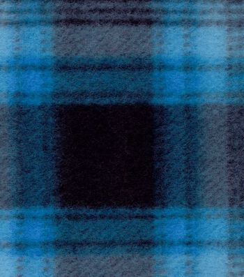 "Blizzard Fleece Fabric 58""-Blue Black Plaid"