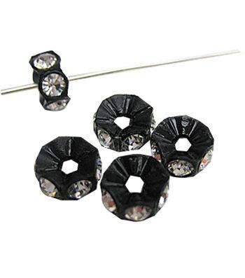 5mm Create Your Style Swarovski Roundelle Beads-Black Crystal 7/pk