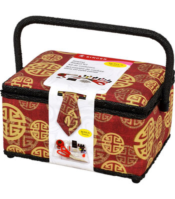 Singer® Large Sewing Basket with Notions Kit-Golden Key