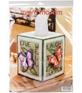 Mary Maxim 7-count 5\u0027\u0027 Plastic Canvas Tissue Box Cover Kit-Butterfly