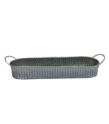 Fresh Picked Spring Large Oblong Metal Ridged Container