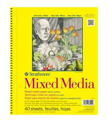 "Strathmore Mixed Media Vellum Paper Pad 9""X12""-90lb 40 Sheets"
