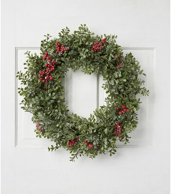 Blooming Holiday Christmas Eucalyptus & Frost Berry Wreath-Green & Red