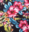 Anti-Pill Fleece Fabric 59\u0022-Tropical Flowers On Navy