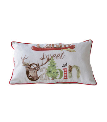 3R Studios Christmas Cotton Pillow-Cabin Sweet Cabin