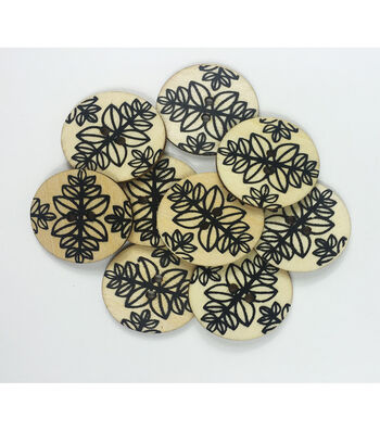 """Organic Elements Wood Buttons 1.25""""-Black & White Leaf Pattern"""