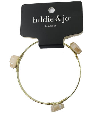 hildie & jo 7'' Gold Bangle Bracelet-Ivory Glass Stones