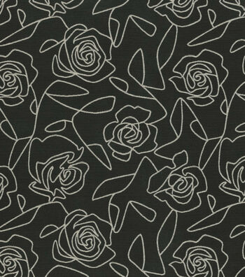 "Crypton Upholstery Fabric 54""-Bed Of Roses-Black"