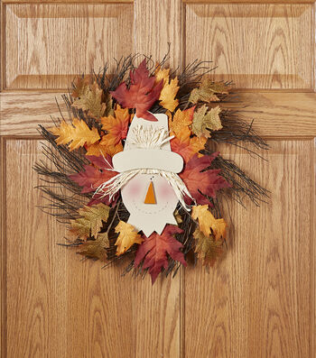 Fall For All Scarecrow, Grapevine & Leaves Wreath Multi