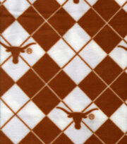 "University of Texas Longhorns Fleece Fabric 58""-Argyle, , hi-res"