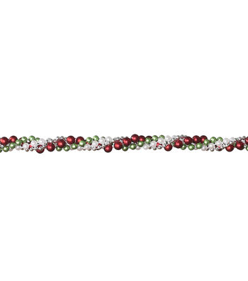 Maker's Holiday Christmas Beads Twist Garland-Red, Green, White & Silver
