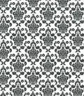 Keepsake Calico™ Cotton Fabric 43\u0022-Black Damask On White