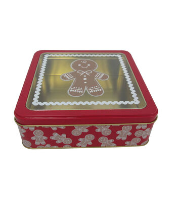Maker's Holiday Medium Square Clear Top Cookie Container-Gingerbread